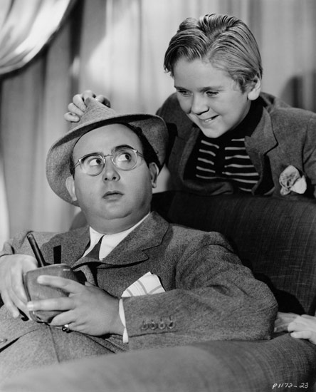 "Director Norman Taurog and his ""star"" 9-year-old Jackie Cooper"