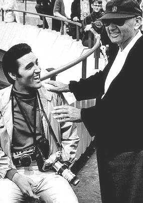 Elvis & Norman Taurog on the set of LIVE A LITTLE, LOVE A LITTLE 1968 - DIRECTOR GOING BLIND?
