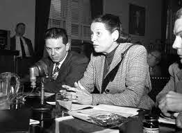 GALE SONDERGAARD before the HUAC committe. She refused to testify which is her right as an American citizen. Yet, she was blacklisted from working after 1949.