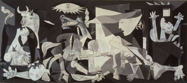 HITLER'S PILOTS BOMBED GUERNICA, SPAIN  1937.  PABLO PICASSO PAINTED ITS IMPACT ON THE WORLD.